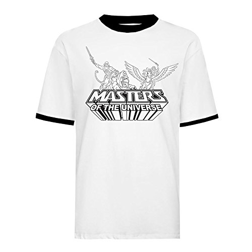 027b5063a70 Masters of the Universe Camiseta de Hombre He-Man She-Ra Cotton White Black