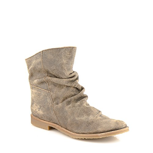 Felmini Bottes 8114 Véritable Cuir Marron Marron Clash en Cowboy avec Biker Chaussures Femme Tomber amour rF8r07
