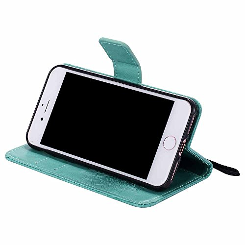 Custodia iPhone 7, Dfly Premium PU Goffratura Mandala Design Pelle Chiusura Magnetica Protettiva Portafoglio Custodia Super Sottile Flip Cover per iPhone 7 (4.7 Pollici), Rosa Oro Verde