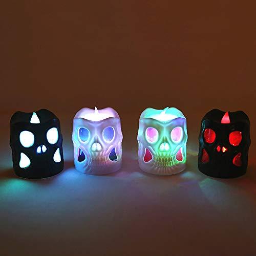12pcs natale halloween led luci candela bar decorazione lanterna lampada plastica bianco nero (6.5 * 5.3 cm)