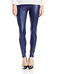 Timbre Strechable Lightweight Faux Leather Navy Blue Legging for Women