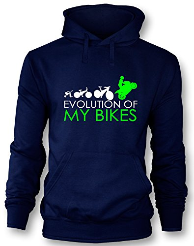 Angry Shirts Evolution of my Bikes - Herren Hoodie in Größe XL -