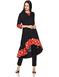 Amazon Brand - Myx Women's Festive Asymmetrical Flared Kurta