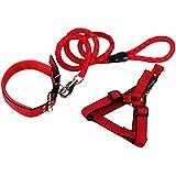 3pcs establecidos para XS arnés del animal doméstico del perrito duradera collares para gatos ajustable acolchada y perro guía cabestro suave (rojo)