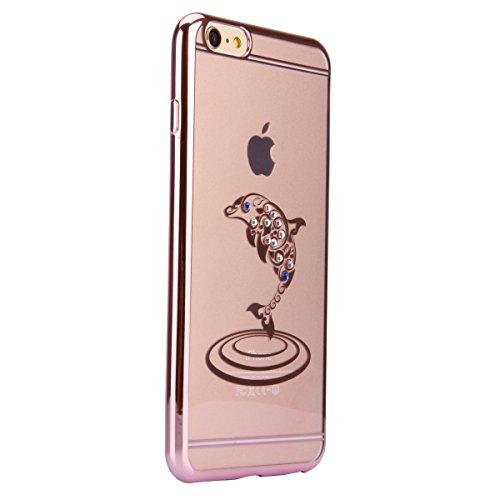 Coque Housse Etui pour iPhone 6 Plus, iPhone 6 Plus Coque en Silicone avec Bling Diamant, iPhone 6 Plus Or Coque Placage de diamant Etui Housse, iPhone 6s Plus Or Coque Gold Etui Housse avec Bling Dia Or Rose-dolphin