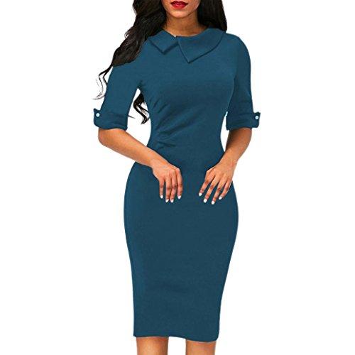feiXIANG frauen knie offizielle amt kleid Damen Reversärmel Slim einfarbiges Kleid bleistift kleid mit reißverschluss (XL, Blau) (Rock Anzug Orange)