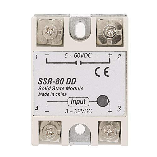 Keenso SSR-80DD 3-32VDC bis 5-60VDC 80A Ausgangsstrom DC-AC Halbleiterrelais SSR-Modul für industrielle Automatisierungsprozesse -
