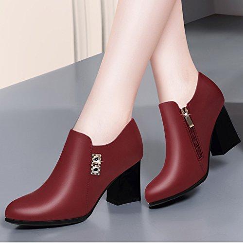 HWF Chaussures femme Femmes Chaussures Printemps Chaussures à talons hauts Femme Pointu Unique British Style Chaussures de travail en cuir Noir ( Couleur : Rouge , taille : 34 ) Rouge