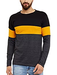 The Dry State Men's Cotton Full Sleeves Multicolor Panel Tshirt