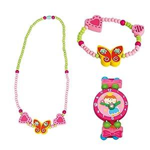BINO 3 TLG. Set Holzschmuck Mädchenschmuck Kinderschmuck Motiv Schmetterling Gelb – Halskette Armband und Armbanduhr