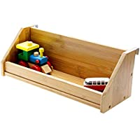 Woodquail Bamboo Clip on Shelf Bedside Hanging Toys Books Shelf Children Beds & Bunks, Space Saving Idea (Natural, Clips 21mm)