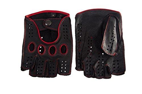 Hungant Herren Halbfinger Autohandschuhe Sport Handschuhe Leder Schwarz Rot (9, Schwarz Rot)