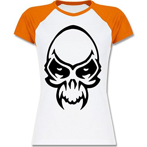 Piraten & Totenkopf - Totenkopf - zweifarbiges Baseballshirt / Raglan T-Shirt für Damen Weiß/Orange
