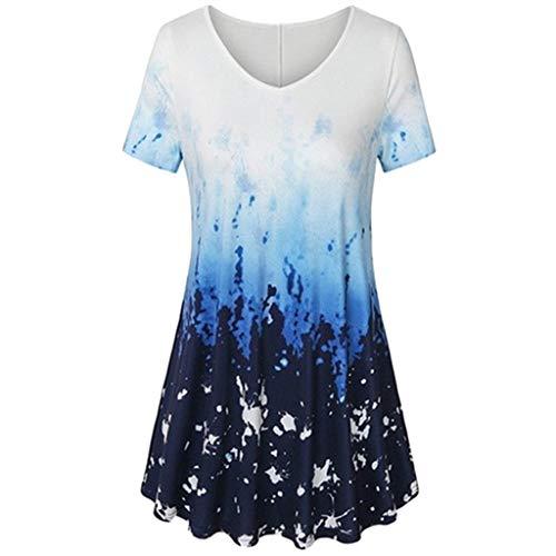 MRULIC T-Shirt Damen V-Ausschnitt Kurze Ärmel Bluse Gradient Farbe Tunika Oversize Oberteile Casual Sommer Lose Shirt (Blau,EU-44/CN-2XL)