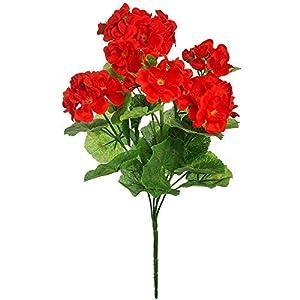 WEFLOWERSFlor Artificial de Geranio de Seda, Flores Rojas, 35 cm, Ideal para Caja de Ventana, Cesta Colgante