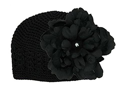 Black Crochet Hat with Black Large Peony, Size: 12-18m