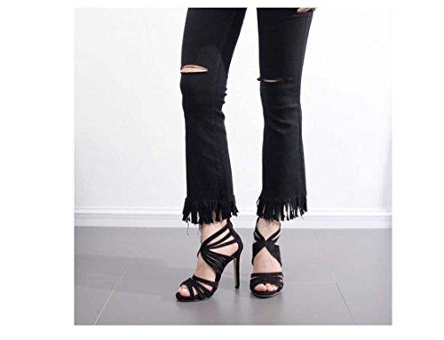 Peep Toe Stylet Creux Fermeture à glissière arrière Talon haut Sandale Nouveau Été Élégant Chaussures pour femmes Black