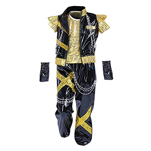 Yiliankeji Sequined Bühne Dancewear Anzüge - Unisex Kinder Splice Trend Performances Show Mädchen Straße Tanz Kostüme Sport Im Freien Hip-Hop Tanzen Kleidung (Tanz Kostüm Trends)