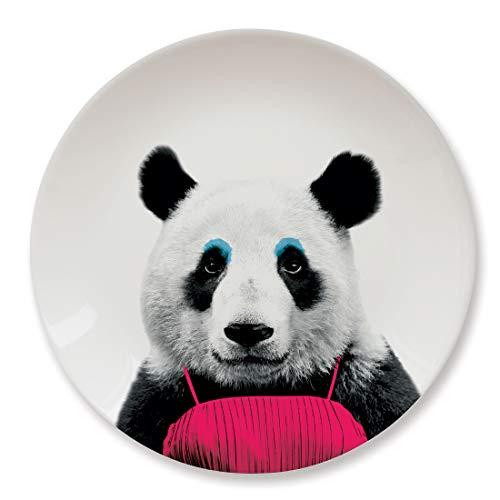 MUSTARD - Wild Dining Panda Dinner Plate I Keramik Teller I 100% Keramik I Runder Essteller I besonders I lustiger Speiseteller I Teller mit Tierprint I Geschenkidee für Studenten - Patricia Panda 100% Keramik