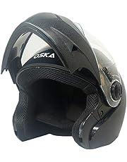Steelbird SB-41 Oska Classic Flip Up Helmet Full Face Bike Riding Helmets For Man(600MM Large, Classic Black With Plain Visor - Geared With Flip Up Down Feature -Aerodynamics Design)