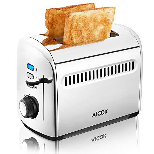 Toaster, Aicok 2 Scheiben Edelstahl Toaster mit herausnehmbarem Tablett für Paniermehl, Extra breiter Schlitz, 7 Farbwähler, 950W, Silber
