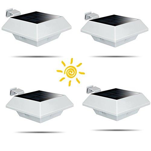 Uniquefire Solarlampe 6 LEDs Dachrinnen Außenlampe Leuchte Wandlampe Solar für Garten, Terrasse, Fahrtweg, Höfe, Traufen (4 STK.)