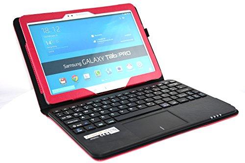 MQ - Galaxy TabPRO 10.1 Bluetooth Tastatur Tasche mit Multifunktions-Touchpad | Hülle mit Bluetooth Tastatur und integriertem Touchpad für Samsung Galaxy Tab Pro 10.1 WiFi T520, Samsung Galaxy Tab Pro 10.1 LTE T525 | Layout Deutsch | Rot