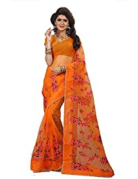 High Glitz Fashion Women's Mono Net Saree With Blouse Piecs
