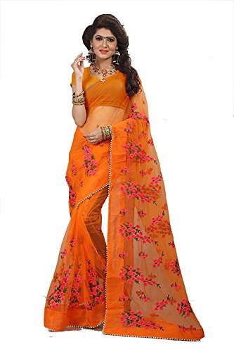 Surat Creations Designer Orange Net Saree with Pink thread Embroidery And Moti lace border