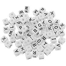 300 Buchstaben Perlen bunt 4x7mm Mix Alphabet ABC schwarz Buchstabenperlen neu