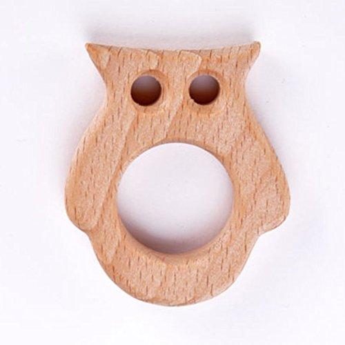 AchidistviQ Sichere Natürliche Holz Tier Form Ring Mädchen Jungen Baby Beißring Zahnen Dusche Spielzeug Eule (Junge Baby-dusche Dekorationen Für Eule)