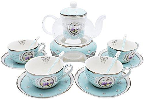 Porzellan Teeservice 8-teilig im Landhausstil für 4 Personen – Türkis – Tasse / Untertasse / Glaskanne / Sieb / Löffel / Stövchen