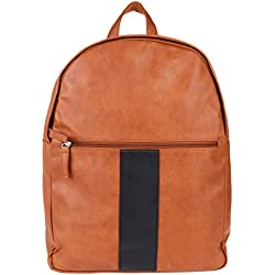 Casual Backpack for Men by Fur Jaden, Tan Colour Trendy College and Office Leather Backpack made of Water Resistant Artificial Leather