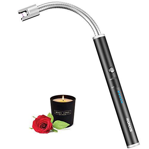erzeug, Flammloses Elektronische Feuerzeug mit LED Batterieanzeige, Aufladbar USB Feuerzeug Wind- & Wetterfest Feuerzeug f¡§?r K¡§?Che, Grill, Kerzen, Feuerwerk,Gasherd ()