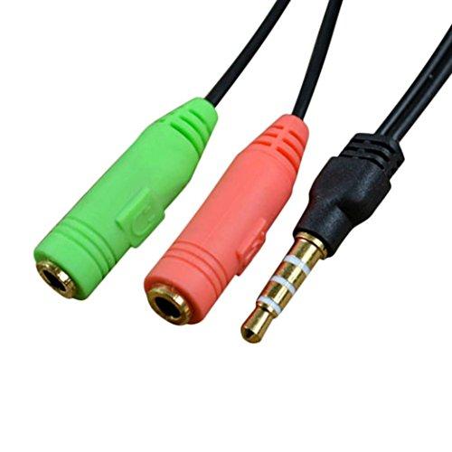 Wokee Y Audio Kabel Mono Klinke Stecker männlich 3,5 mm Stereo Audio Stecker auf 2 Weibliche Headset Mic Y Splitter Kabel Adapter (Cinch-zu-1 Männlich 4 6)