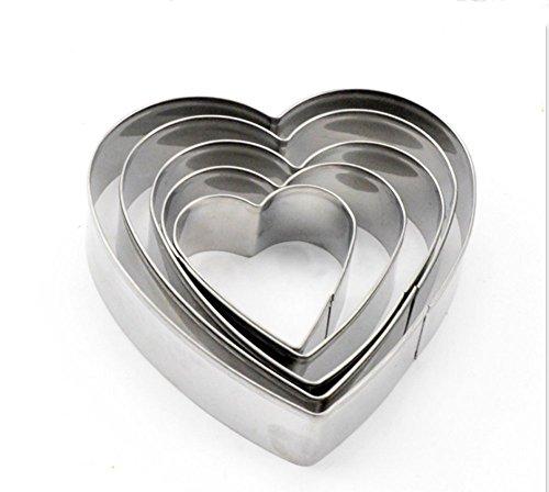 asentechuk® 5x/Set Edelstahl in Herzform Ei Kuchen Cookie Mould Fondant Form Bakeware Küche Werkzeug