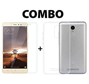 REDMI NOTE 3 COMBO - FINE QUALITY TRANSPARENT BACK COVER + ULTRA FLEXIBLE TEMPERED GLASS