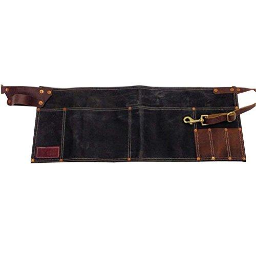 Delantal de lona encerada HANSHI, estilo vintage, piel marrón, con cinturón ajustable...