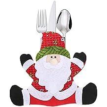 Hirolan 10 Stück Weihnachten Kappen Besteck Halter Gabel Löffel Tasche Weihnachten Dekor Tasche Nikolaussocke Weihnachts Socke Geschenk Tasche für Kinder Weihnachten Deko