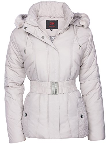 Giacca invernale trapuntata da donna Piumino effetto pelliccia Giacca con cappuccio Giacca da sci Cappotto corto Grigio chiaro