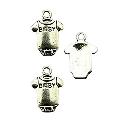 Lot de 6Vintage 17* * * * * * * * 12mm couleur argent antique Charms en tissu pour bébé