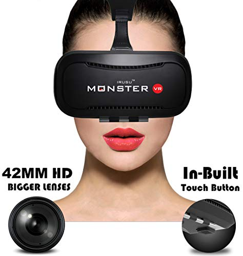 Irusu Monster VR Box Headset with HD Lenses and Advanced Touch Button for Smartphones