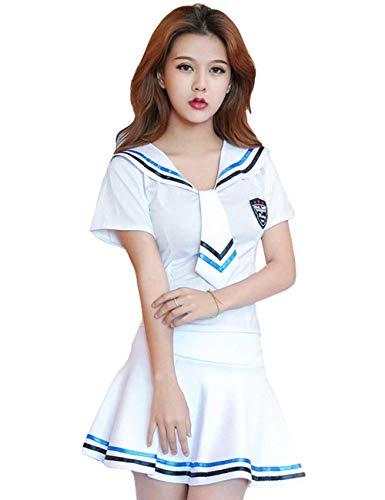 Damen Paper Kostüm Doll - Dessous Frauen Damen Sailor Cosplay Matrosenanzug Babydoll Lingerie Elegante Suit Festlich Bekleidung Young Fashion Schulmädchen Matrosen Kostüm Unterwäsche (Color : Weiß, Size : M)