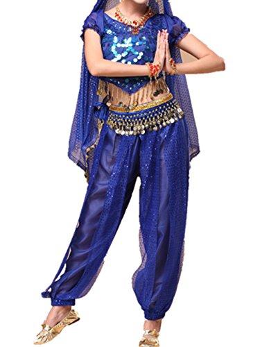 Bauchtanz Tribal Tanz Outfits Tanzkleidung Bauchtanz Kostüm Set Indischer Tanz Top & Paillette Bauchtanz Hose Münzen dark (Bunny Kostüme Blue)