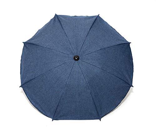 Universal Sonnenschirm Regenschirm für Kinderwagen und Sport Buggy, Babywagen Schirm mit Universal Halterung, UV-Schutz50+ Sonnensegel Sonnenschutz (Dunkelblaues Leinen)