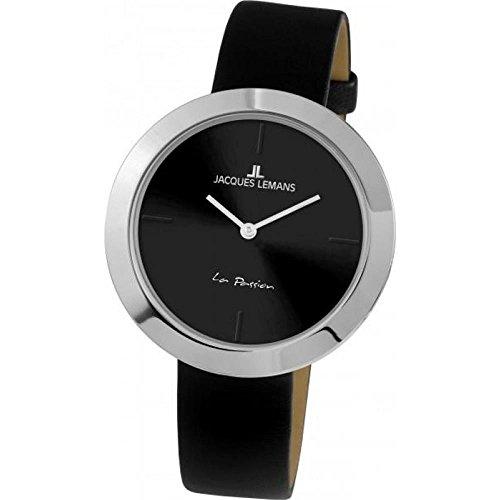 Jacques Lemans Women's La Passion 37mm Black Leather Band Quartz Watch 1-2031A