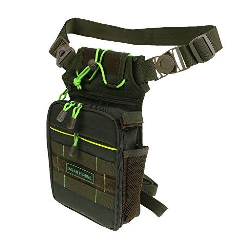 MagiDeal Nylongewebe Fischerei Taille Tasche mit Angeln Tackle Box 5 Fächer - Angeln Zubehör - Armeegrün
