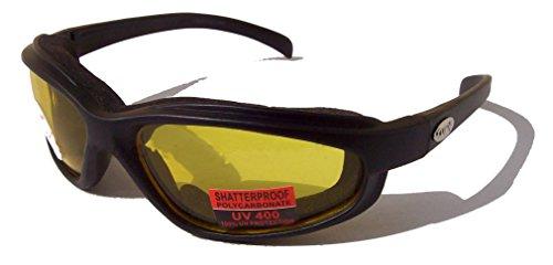 Curv Z Weich luftig Schaumstoff gepolsterte Motorrad Biker Brille Gelb Objektiv mit gratis Beutel