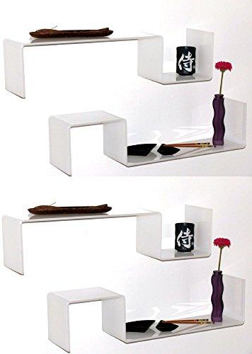 YELLOO 3 + 1 Gratuite Étagère Design Blanc Brillant Salon Chambre 4 étagères Gisy B