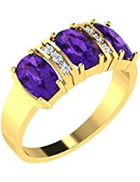 His & Her Gold, Diamond And Amethyst Ring For Women